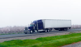 Mörker - blå klassisk halv lastbil med krom torra skåpbil släp på bloo Royaltyfri Bild