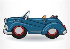Mörker - blå klassisk retro bil På vitbakgrund Royaltyfri Bild