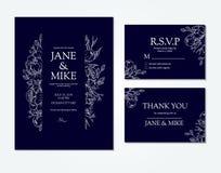 Mörker - blå mall för bröllopinbjudankort med vektorpionen och rosor Royaltyfria Foton