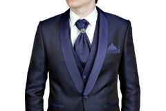 Mörker - blå mandräkt, bröllop eller afton, waistcoat, skjorta, plastr Royaltyfri Foto