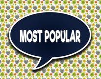 Mörker - blå ordballong med MEST POPULÄRT textmeddelande Blommatapetbakgrund vektor illustrationer