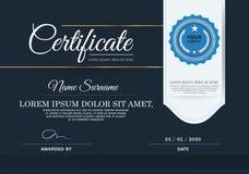 Mörker - blått certifikat, vektorcertifikatmall Arkivbild