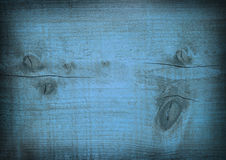 Mörker - blått skrapad träplanka Trä texturerar Arkivfoton