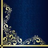 Mörker - blåttbakgrund dekorerade ett guld- gränsar. Arkivbilder