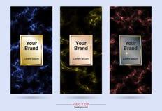 Mörker färgade och den guld- förpackande etiketten för produktdesignen och klistermärkemallar royaltyfri illustrationer