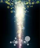 Mörker för eldflugor för vektorabstrakt begrepp miljon - blå vertikal bokehbackg Royaltyfria Bilder