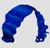 Mörker för korta hår för kvinna - retro stil för blå modeskönhet Realistisk 3d Royaltyfri Fotografi