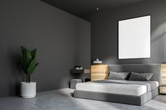 Mörker - grå sovruminre, affisch royaltyfri illustrationer