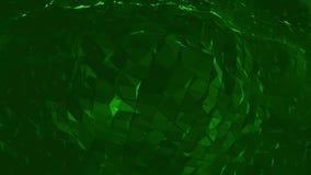 Mörker - grön låg poly vinkande yttersida som atomstrukturen Mörker - grön polygonal geometrisk vibrerande miljö eller pulserar stock video