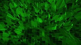 Mörker - grön låg poly vinkande yttersida som geometriskt raster Mörker - grön polygonal geometrisk vibrerande miljö eller pulser lager videofilmer