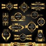 Mörker guld-inramade etiketter - vektoruppsättning stock illustrationer