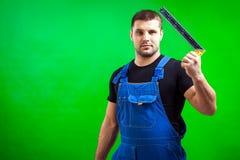 Mörker-haired manlig konstruktion fotografering för bildbyråer