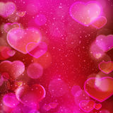 Mörker - röd magentafärgad hjärtasuddighet, romantiskt tema Arkivfoton