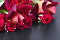 Mörker - röd ros på en mörk tabell Royaltyfri Bild