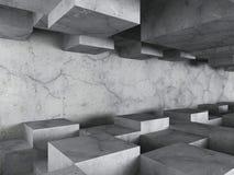 Mörkerbetong texturerade arkitekturbakgrund med den kaotiska kuben Royaltyfri Fotografi