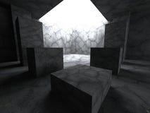 Mörkerbetongrum med det ljusa hålet teckning för blå kompass för arkitekturbakgrund djup över Royaltyfri Fotografi