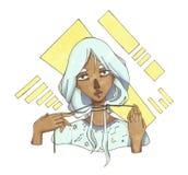 Mörkhyad flicka med blått hår på en abstrakt bakgrund royaltyfri illustrationer