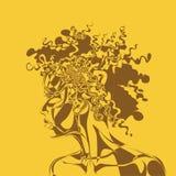 Mörkhyad kvinna för framsida i abstrakta begreppet Royaltyfria Bilder