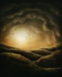 Mörkret landskap stock illustrationer