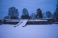 Mörkret och förkylning på fredriksten fästningen (skyddsramen) Arkivbild