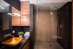 Mörkt badrum med den stora duschen royaltyfri bild