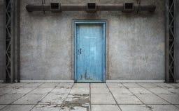 Mörkt betongväggrum med den gamla dörren framförande 3d vektor illustrationer