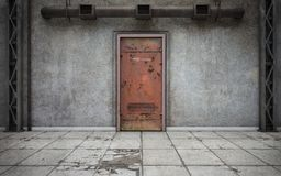 Mörkt betongväggrum med den gamla dörren framförande 3d stock illustrationer