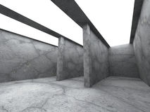 Mörkt betongväggrum med takljus Modern architectur Royaltyfri Bild