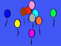 Mörkt - blåa skämtsamma färgrika ballonger som omkring ler; Den är som vatten royaltyfri illustrationer