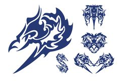 Mörkt blått huvud av harpyen och symbolerna av dessa huvud Royaltyfria Foton