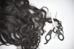 Mörkt brunt lockigt hår med sax på den vita bakgrunden royaltyfri fotografi
