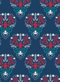 Mörkt för damast modell för julvektor sömlöst - blått vektor illustrationer