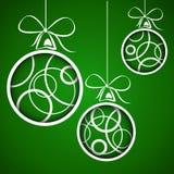 Mörkt - gröna vita cirkeljulbollar royaltyfri illustrationer
