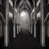 Mörkt hall med en måne royaltyfri illustrationer