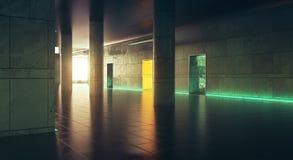 Mörkt korridorwiithsolljus Arkivfoton