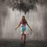 Mörkt moln och färgrika regndroppar arkivbilder