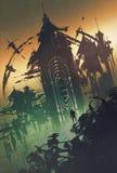 Mörkt mystiskt torn på skymning royaltyfri illustrationer