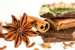 Mörkt och mjölka chokladstänger med stjärnan för den kanelbruna pinnen och anis Arkivfoto