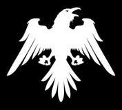 Mörkt ont heraldiskt korpsvart med spridningvingar stock illustrationer