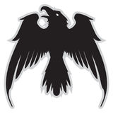 Mörkt ont heraldiskt korpsvart med spridningvingar vektor illustrationer