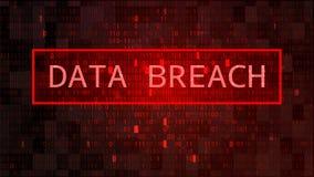 Mörkt - röd BG med binär kod Databrytning royaltyfri illustrationer