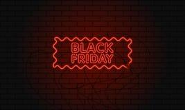 Mörkt rengöringsdukbaner för den svarta fredag försäljningen Röd affischtavla för modernt neon på tegelstenväggen Begrepp av adve Royaltyfri Fotografi
