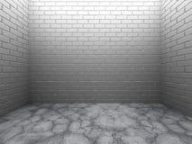 Mörkt töm ruminre med den vita flooen för tegelstenväggen och betong Arkivbild