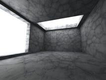 Mörkt tomt konkret rum Minimalistic designbackg för arkitektur Royaltyfri Foto