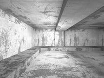 Mörkt tomt konkret rum teckning för blå kompass för arkitekturbakgrund djup över Arkivfoton