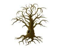 Mörkt träd med en fördjupning royaltyfri illustrationer
