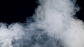 Mörkt utrymme får fyllt med vindkast av tät dimma Dimma rök, moln som isoleras på en svart bakgrund stock video
