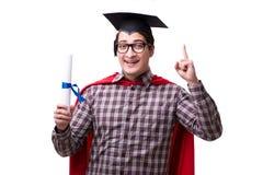 Mörser-Brettkappe des Superheld-Studenten graduierende tragende lokalisiert Stockfotografie