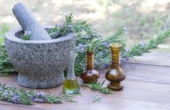 Mörser und Stampfe mit Rosemary Plant und Öl Lizenzfreies Stockbild