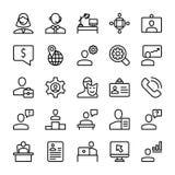 Möte arbetsplatslinje symbolsuppsättning stock illustrationer
